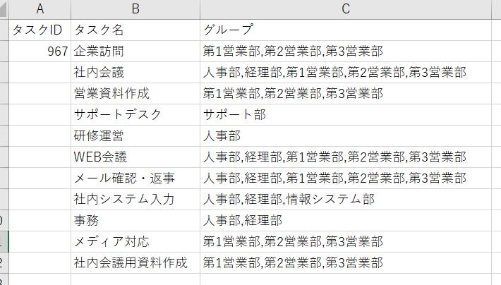CSV編集画面